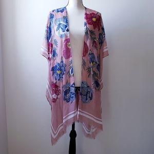 Floral Print Kimono, Swimsuit Cover-up, Fringe Hem